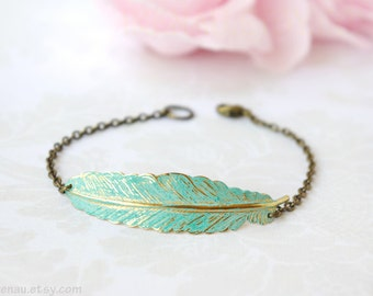 Feather Bracelet, Brass Feather Bracelet Adjustable, Patina Verdigris Blue Feather Gold Bracelet Vintage Style, Bohemian Boho Chic Jewelry