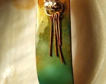 Copper pendant worked in Kamaleon