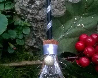 Yule Winter Solstice Snowflake Besom Altar Broom Mini Broomstick - Witch - Witchcraft - Magick - Pagan - Wiccan - Altar