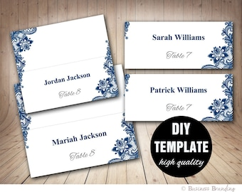Navy Blue Wedding Placecard Template Foldover, DIY Blue Place card, Instant Download,Printable Lace Wedding Seating Placecards