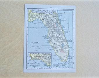 1925 - Florida Map - Antique Cram's Atlas Map - Vintage Florida Map - Old Atlas Map - Small Antique Map