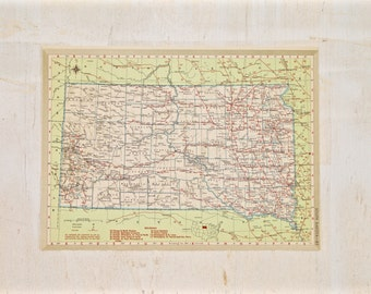 1949 - South Dakota - Authentic Vintage Map - Large Map of South Dakota - Old Antique Map - Colorful Map Crams Atlas - Gift - 89/001
