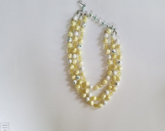 Vintage Multi Strand Necklace Made in Japan.  Yellow-Green Beads with White Beads