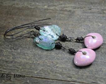 Rustic Boho Earrings, Ancient Roman Glass Earrings, Dark Copper, Bohemian Jewelry, Gypsy, Hippie, Handmade, Artisan, Pink, Blue, Primitive