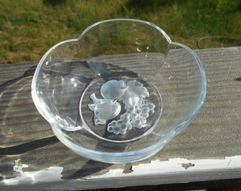 """Crystal Bowl, Frosted Fruit on Bottom, Petal Shaped Sides, 4-3/4""""Diameter x 2"""" Tall"""