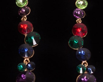 Multi Colored 80's Style Drop Earrings