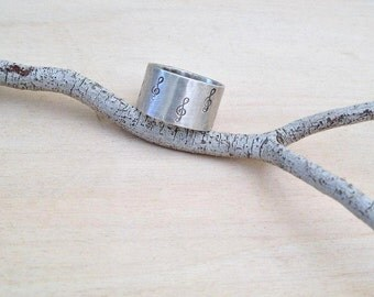 Sol key ring , Music ring , Engraved Silver Ring , Sterling silver Handmade ,  Music Lovers  Ring