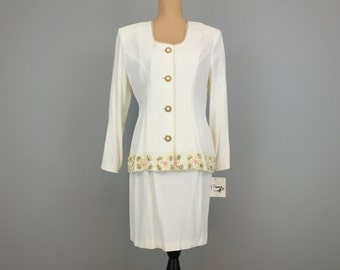 80s Womens Suits Size 8 Skirt Suit 1980s Clothing Dressy Suit Floral Applique Bridal Shower White Suit Cream NWTs Medium Womens Clothing