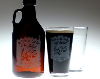 Personalized Beer Growler & 2 glass set with Cheers Mugs Newlywed  art ,wedding gift ,personalized growler,custom Beer Glass,Beer Gift, Beer