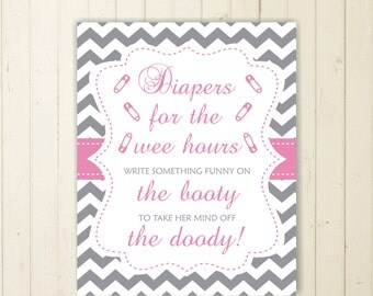 diaper thoughts pink baby shower game late night diapers game  printable Diapers for the Wee Hours baby shower sign grey and pink sign 102
