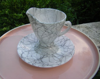 Hazel Atlas Drizzle Pattern Midnight Magic Creamer with Saucer Spaghetti String Splatter