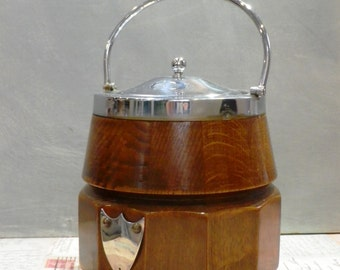 1930's Oak Biscuit Barrel with Silver plated fittings Cookie Jar