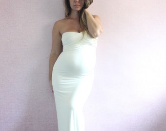 Maternity Dress Long Fitted Maternity Gown Gender Reveal Babyshower  The  Sweetheart Modify