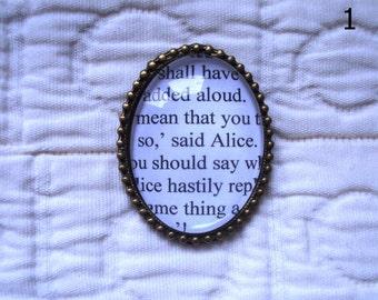 Alice in Wonderland bookpage brooch