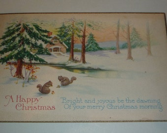 Cute Squirrels on a Snowy Winter Scene Vintage 1920s Christmas Postcard