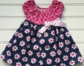 Girl Flower Dress, Toddler Dress, Girl Daisy Dress, Baby Dress, Little Girl Dress, Pink Dress, Peasant Dress, Toddler Girl Clothes