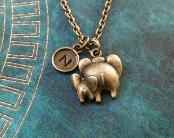 Elephant Necklace SMALL Bronze Baby Elephant Jewelry Personalized Jewelry Brass Mother's Day Necklace Gift for Mom Necklace Mother and Child