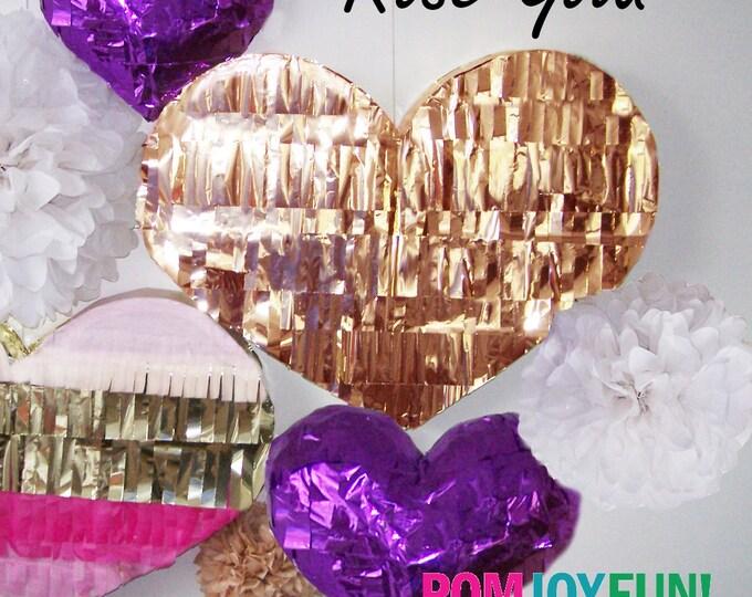 Heart Piñata | Heart-Shaped Piñata in Metallic Rose Gold | Wedding Piñata | Baby Shower Piñata | Wedding Guest Book Piñata