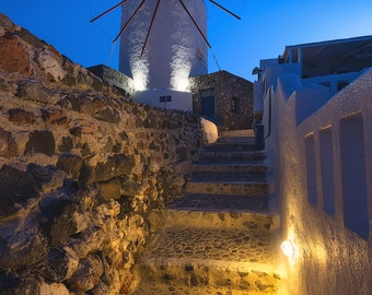 Windmills of Oia, Greece, Cyclades, Sunrise, Mediterranean Sea, Thira, Aegean, Whitewashed, Village - Travel Photography, Print, Wall Art