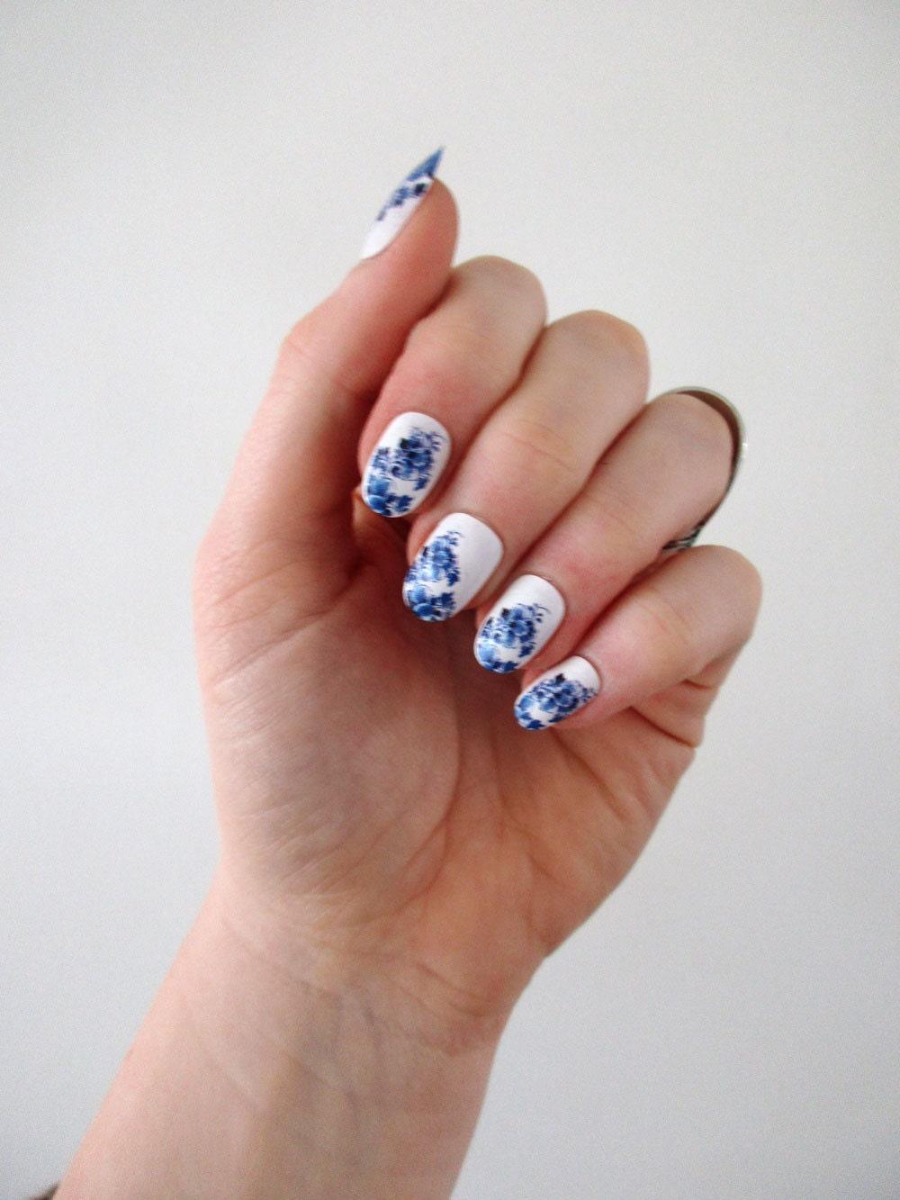 Blue Nail Trend: Delft Blue Nail Tattoos / Nail Decals / Nail Art / Boho Nails