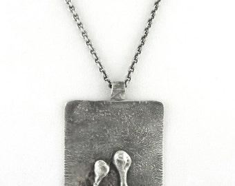 1970s - Large Brutalist Modernist Biomorphic Pewter Pendant / Necklace