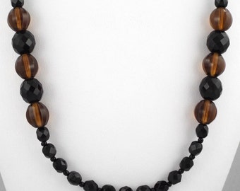 "1950s Superb Long Vintage Black & Amber Tone Crystal Glass Beads Necklace - 30"""