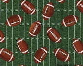 Football Fabric, Timeless Treasures Gail C4819 Green, Sports Fabric, Tossed Football Quilt Fabric, Football Field Fabric, Cotton