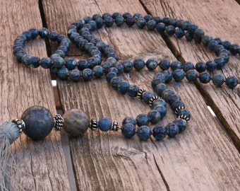 Long Tassel Necklace with Denim Lapis Round Beads