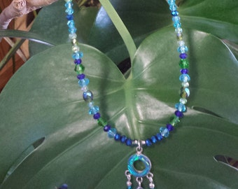 Shades of Blue Gilson Opal Sterling Silver Pendant and Crystal Necklace and Earrings