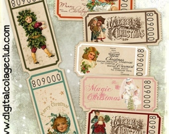 Vintage Victorian Christmas Tickets Digital Collage Sheet Ticket Strips Coupon Instant Download Christmas Party Journaling