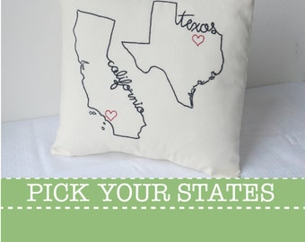 State Pillow Cover California Texas Decorative Throw Custom Embroidered, United States Ohio Washington New York Carolina Gift