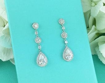 Wedding earrings, bridal earrings, tear drop pear cubic zirconia earrings dangle earring, bridesmaid earrings Jewelry 273012462