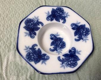 Cobalt Blue on White Porcelain Tea Light Holder, Cobalt Blue Rim, Cobalt Blue Flowers, Blue on White, Blue and White, Tea Light Holder