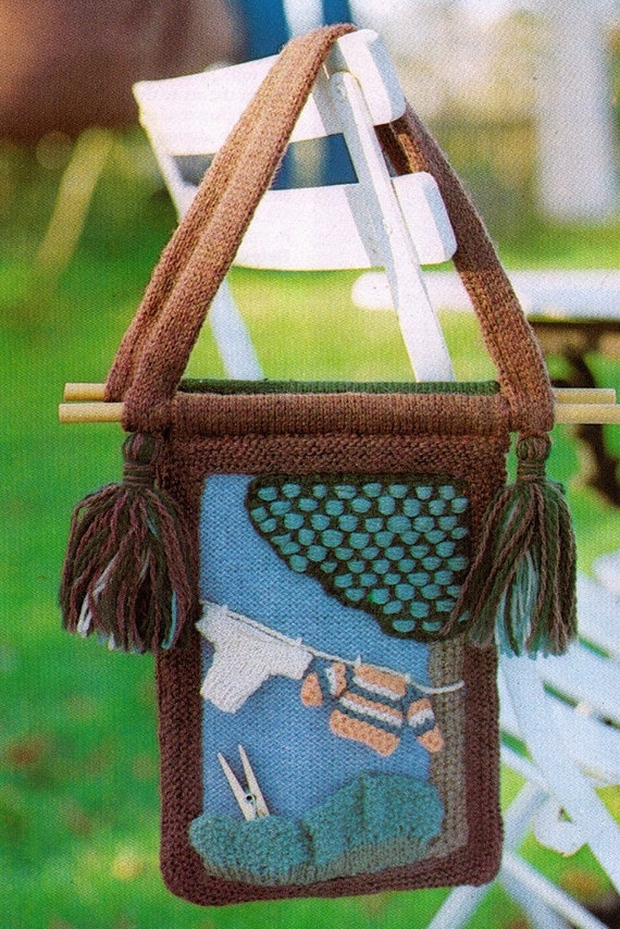 Knitting Household Items : Items similar to unusual knitted laundry washing peg bag