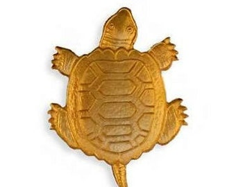 Raw Brass Turtle  Stamping Fancy Deco Embellishment (1) ~ American Made