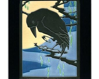 Raven, Midnight -Motawi Arts & Crafts Tile by Yoshiko Yamamoto