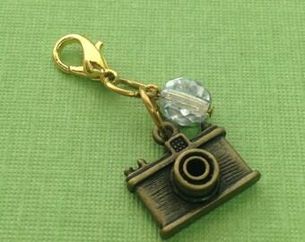 Planner Charm - antiqued brass Camera