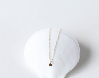 Lil Dot Necklace // 14k gold filled necklace with tiny gold-filled circle charm