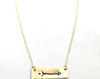 Aim Necklace, Aim Bracelet, Gold Bar, Aim True, Follow your arrow, True North, Yoga Jewelry