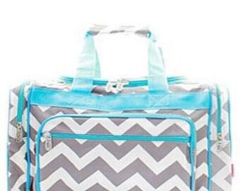 Personalized Aqua Trim Duffle bag, Duffle, Monogram Duffle Bag, Name or Initials, Large Duffle Bag, Gift Idea, Luggage Bag, Duffle, Sports