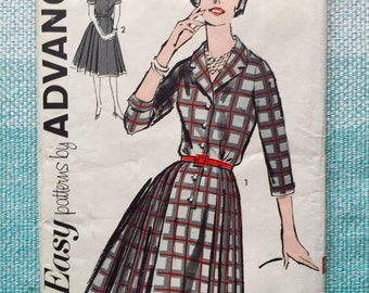 1960s Advance 2730 Sewing Pattern Ladies Misses Shirtwaist Dress Pleated Notched Collar Button Up Three-Quarter Sleeves Size 16 Bust 36
