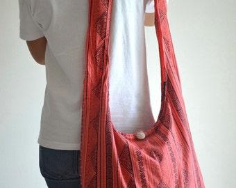 Women Cotton Bag Handbags Hippie Bag Hobo Bag Boho Bag Shoulder Bag Sling Bag Messenger Tote Bag Crossbody Bag Purse, Pink Orange