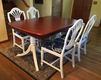 SOLD *** Duncan Phyfe Style Dining Table, 3 Leaves U0026 4 Shieldback Chairs
