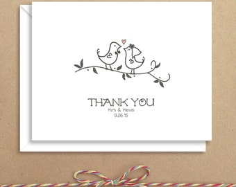 Love Birds Note Cards - Bridal Folded Note Cards - Bridal Stationery - Bridal Shower Thank You Notes - Illustrated Note Cards