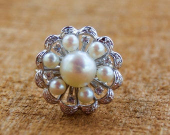 Vintage Kimberly Pearl and Diamond 14KT White Gold Ring