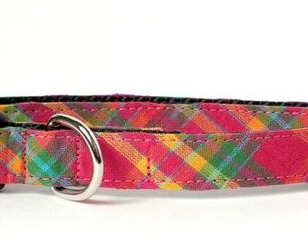 Dark Pink Plaid Dog Collar