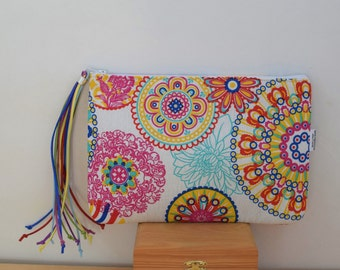 Rainbow purse, Rainbow clutch,mandala clutch, canvas pouch, Rainbow bag, mandala bag, Mandala handbag,Mandala purse bag,canvas clutch