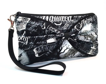 Gothic Wristlet Clutch Gothic Purse, Something Wicked Handbag, Cell Phone Wallet Goth Bag, Skull Bag, Black and White