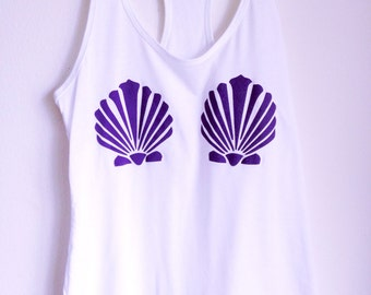 Mermaid Shell Shirt • Mermaid Tank Top • Women's Clothing • Mermaid Party TShirt • Mermaid Costume Top « n1533white «« (basic, nl tank) «