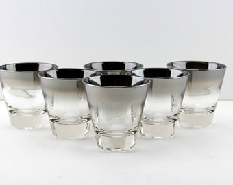 Mid Century Silver Fade 4 oz Double Shot Glasses Queens Lusterware Set of 6